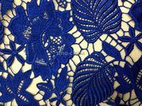 Синий свадебное платье кружевное полотно роскошные и превосходный воды полу-растворимые кружевной ткани вечернее платье ну вечеринку платья шаль продавец-ярда