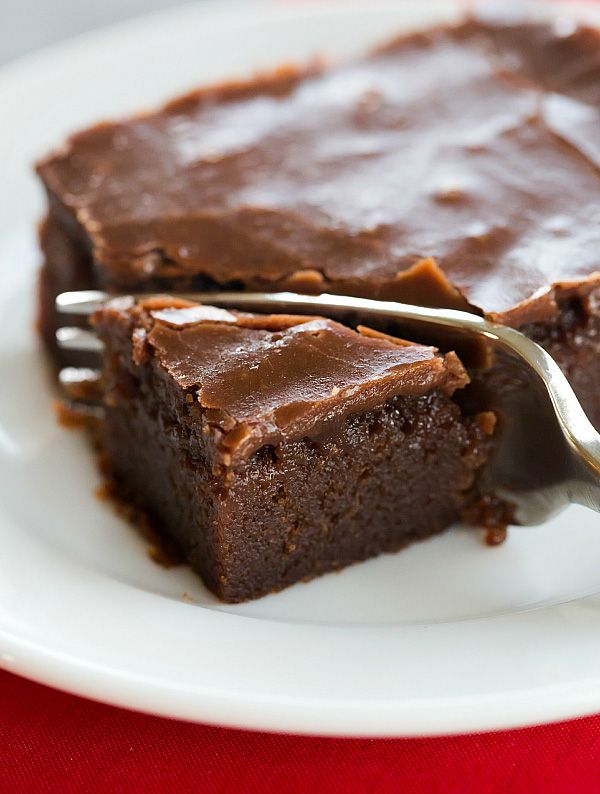 A classic Coca-Cola Cake - supremely moist chocolate sheet cake with a boiled chocolate frosting.