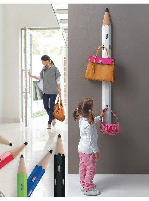 Appendiabiti Da Muro Per Bambini.Appendiabiti Maita Art 930 A Forma Di Matita Con 4 Ganci Per