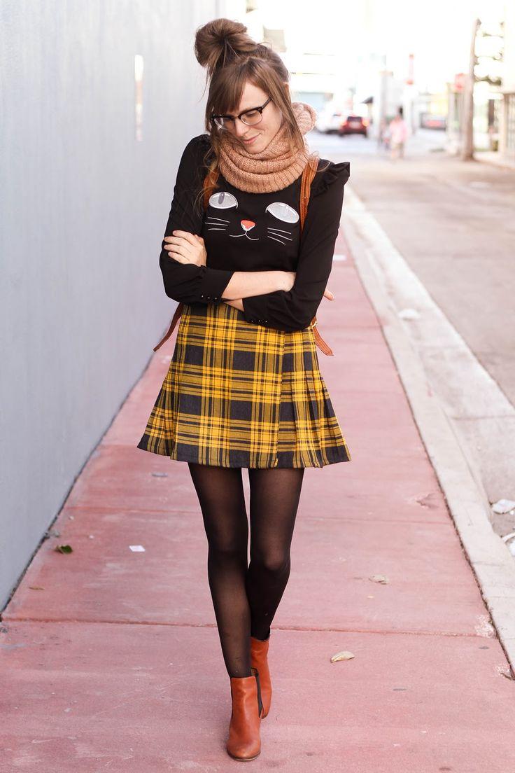 Black Sheer Tights Yellow Tartan Pleated Skirt Brown