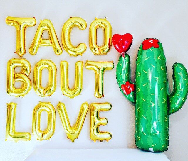 Taco Bout Love, Taco Letter Balloons, Taco Party,Taco Decoration,Taco Banner, Taco Photo Prop, Taco Tuesday, Taco Bout it, Taco Bout a Party by girlygifts07 on Etsy https://www.etsy.com/listing/489049764/taco-bout-love-taco-letter-balloons-taco
