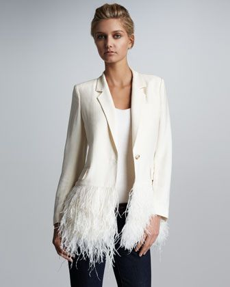 James feather hem blazer