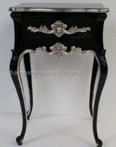 Silver and Black Bedside Cabinet