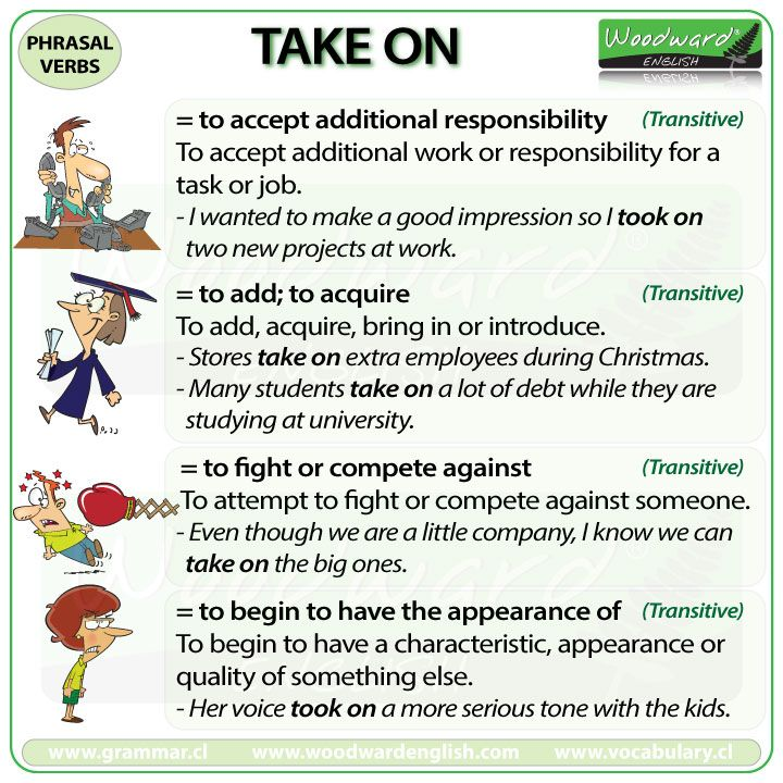 TAKE ON - English Phrasal Verb with meanings and example sentences.