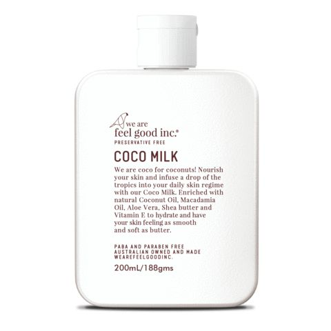 Coco for coconuts! Introducing Coco Milk...  Our luxe all over body moisturiser smells like a tropical summer with natural coconut oil.  Enriched with skin goodies including vitamin e and shea butter, your skin will love you when you use daily as part of your skin care regime.   Suitable for most skin types, nourishing and non greasy.  Use daily for soft, silky skin that smells delicious!