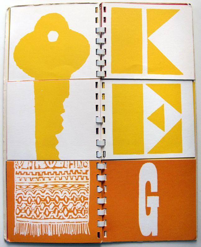 Bob Gill's spiral-bound flip book, A to Z. 1962. Lovely.