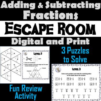 This breakout escape room is a fun way for students to test their skills with adding and subtracting fractions.