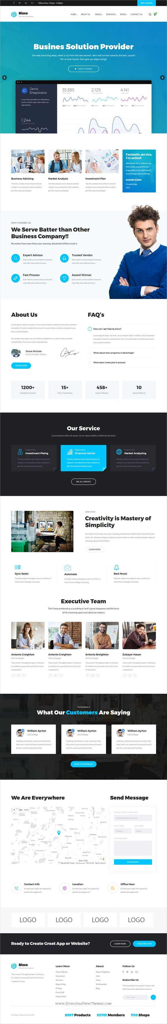 Bizco is clean and modern design 2in1 responsive #WordPress theme for #business consulting and #professional services website download now..
