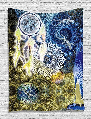 Asian Tapestry Mandala Decor by Ambesonne, Lace Indian Batik Hippie Zen Yoga Large Dreamcatcher Lizards Wall Hanging Dorm Asian Style Tapestry Bedroom Living Room Decorations, Yellow Blue White