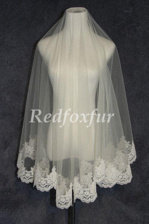 Witte of ivoren Bridal Veil 1T Lace rand sluier Alencon lace sluier 1.5m kapel sluier bruiloft jurk sluier bruiloft accessoires No kam