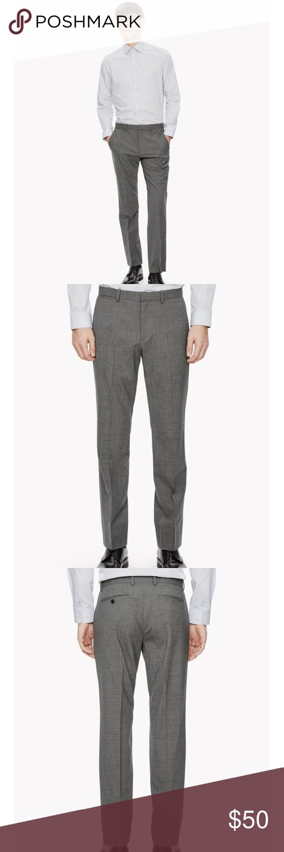 NWT Theory men's Marlo wool grey dress pants Theory Marlo Classic tailored trouser with a comfortable straight leg. Flat front. Belt loops. Front hook and zip fly. Angled front pockets. Welted back pockets. Made of signature stretch wool from Italy. Light, luxurious and resistant to creases. Wear it with or without our matching jacket. Sample tags attached. Great pants! Theory Pants Dress