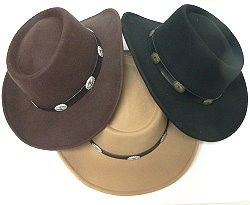 Everyone from Hank Williams to Maverick and Adam Cartwright liked the gambler as a western hat.  These wool felt gamblers have a band spaced with small conchos.  Find other cowboy hats mixed with men's dress hats by following the link.  http://www.awnol.com/store/Hats/Mens-Dress-Hats