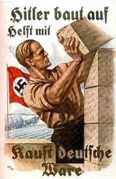 "Algo do tipo: ""Hitler está construindo, ajude comprando produtos alemães"" (Hitler baut auf helft mit kauft deutsche ware)"