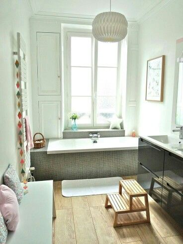 position of the bath under the window. space either side of the bath tub to put things on.