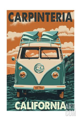 Carpinteria, California - VW Van Art Print by Lantern Press at Art.com