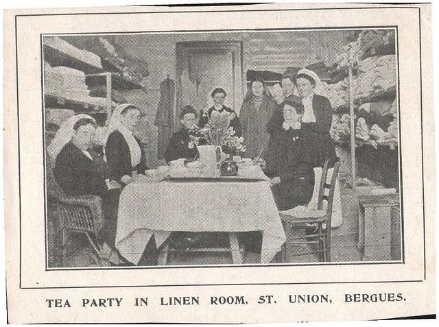 """""""Tea party in linen room, St Union, Bergues""""  - press cutting from British Journal of Nursing, 29 May 1915 by whatsthatpicture, via Flickr"""