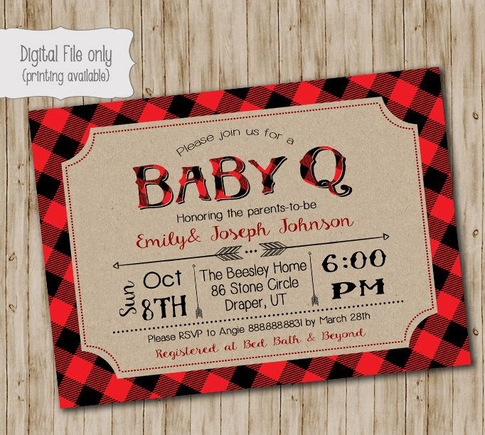 Plaid BABY Q Shower Invitation, BBQ Joint Baby Shower, Barbeque Baby Shower, Lumberjack, Chalkboarrd, Retro, Rustic - Digital Print File by SweetBeeDesignShoppe on Etsy https://www.etsy.com/listing/482258703/plaid-baby-q-shower-invitation-bbq-joint