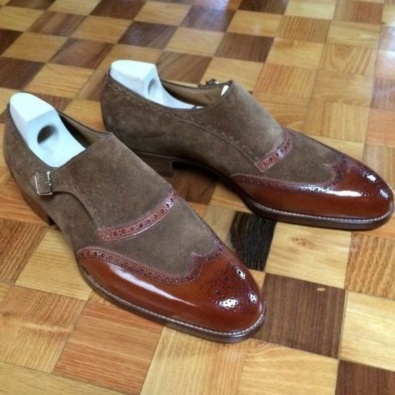 Handmade Two Tone Brown Suede Leather Monk Shoes Formal Shoes Men's