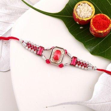 Pink Gemstone Kundan Rakhi  rakhi online shopping