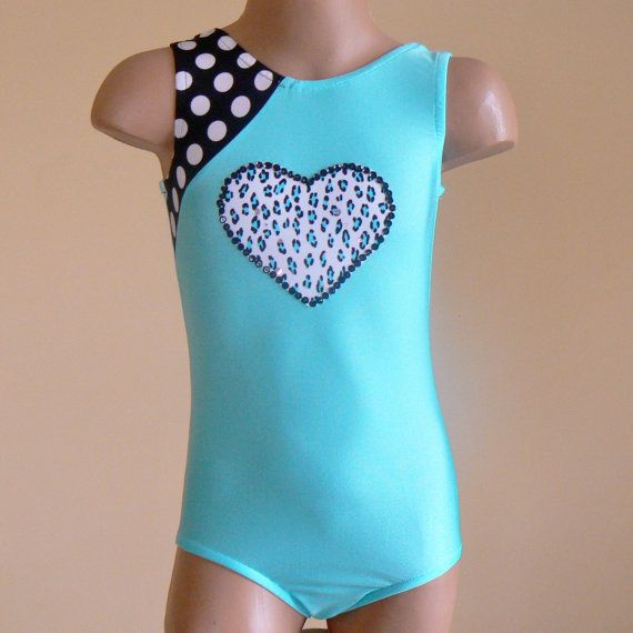 Gymnastics Leotard with Heart Applique Size 2T  by SENDesigne, $28.00