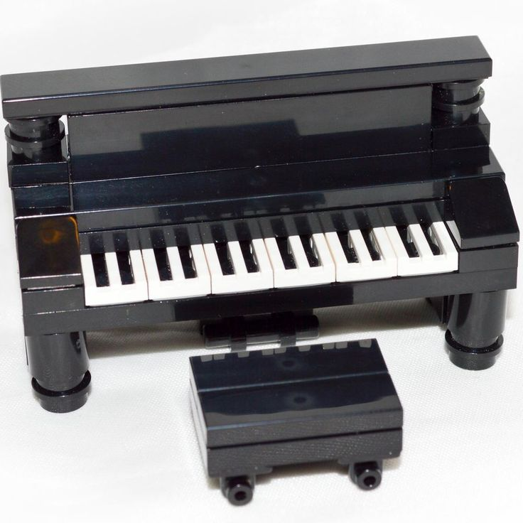 LEGO Furniture: Black Piano & Bench Set w/ Parts & Instructions   [custom,house] #LEGO