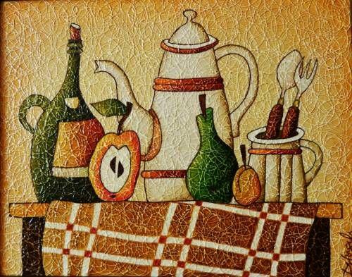 Картины (живопись) : Натюрморт белый чайник