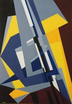 Struttura nello spazio (Structure in space) by Gualtiero Nativi, 1954, tempera su tavola, cm 50 x 35 | FerrarinArte