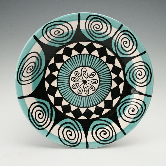 Mandala Plate with Teal Blue, Black and White Hand Painted Bohemian Dinnerware