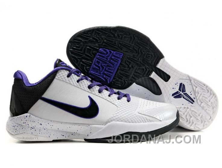 Nike Zoom Kobe V Shoes White/Black/Purple Christmas Deals