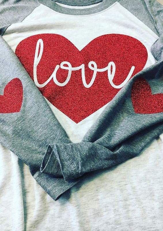 ae6ac7e069ec Love Heart Elbow Patch Printed Baseball T-Shirt