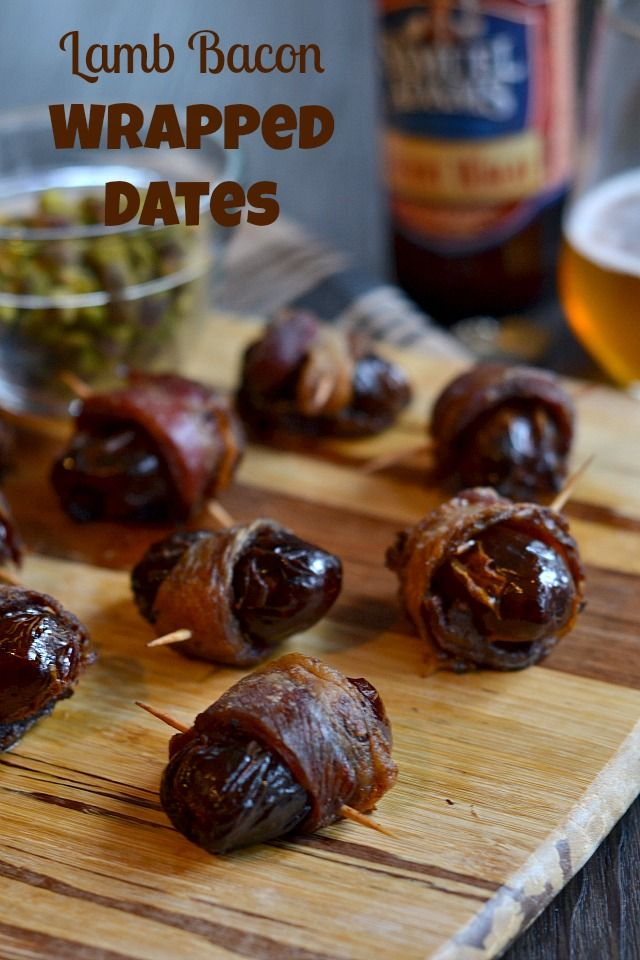 Lamb Bacon Wrapped Dates stuffed with pistachios