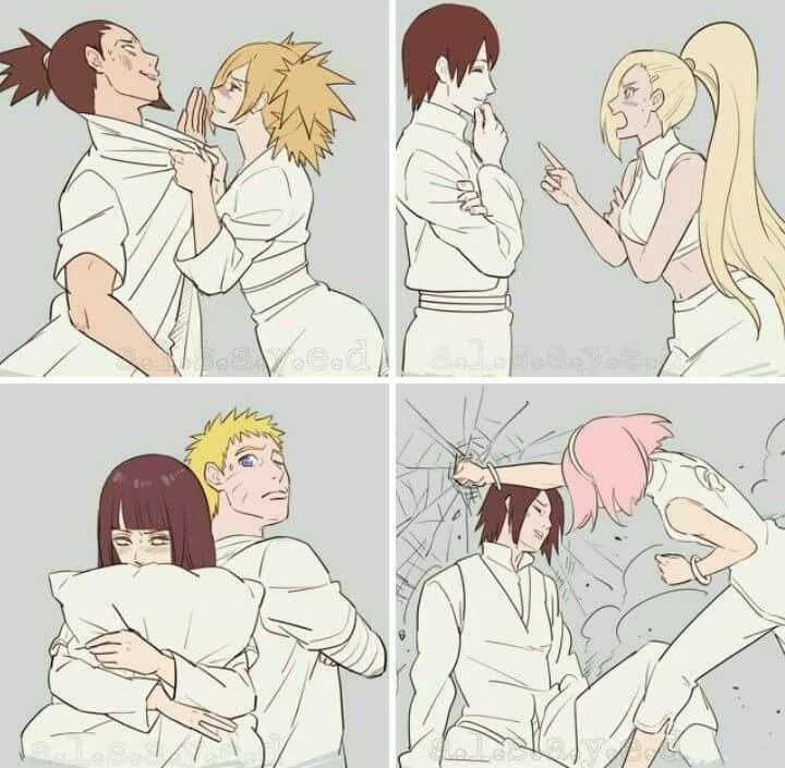 The couples: ShikaTema, InoSai, NaruHina, SasuSaku qui au passage Sasuke va mourir