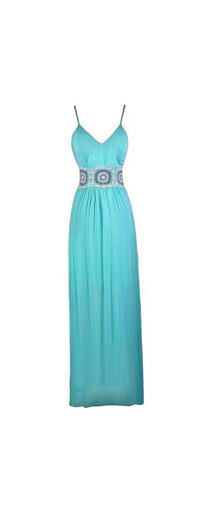 Lily Boutique Boho Braiding Maxi Dress in Aqua, $52 Aqua Maxi Dress, Cute Maxi Dress, Boho Maxi Dress, Crochet Knit Maxi Dress, Bright Blue Maxi Dress www.lilyboutique.com