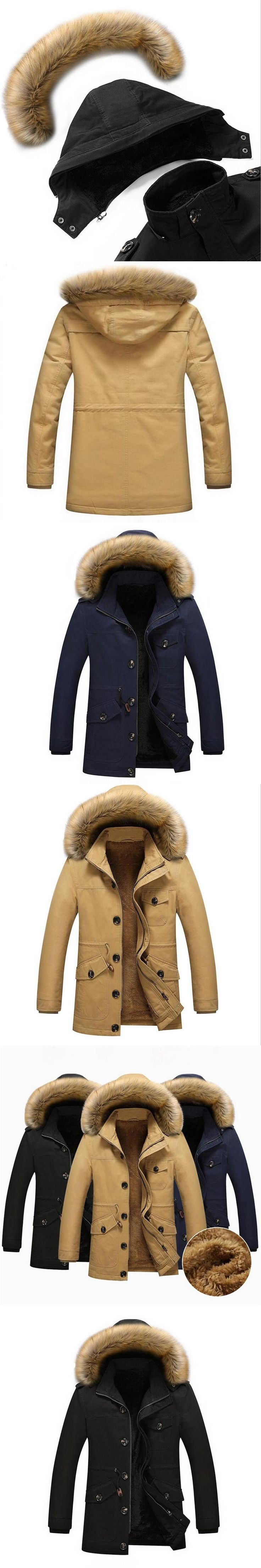 New Winter Warm Jacket Men Outwear Casual Thicken Fur Collar Cotton-Padded Parka Men Hooded Coat Male Parkas Hombre Invierno 5XL
