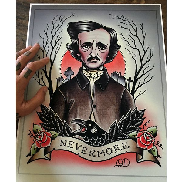 Edgar Allan Poe Flash Art Print (45 AUD) ❤ liked on Polyvore featuring home, home decor, wall art, paper wall art, photo wall art and tattoo wall art