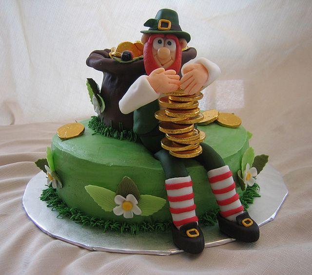 Irish leprechaun pot of gold cake for St. Patrick's Day