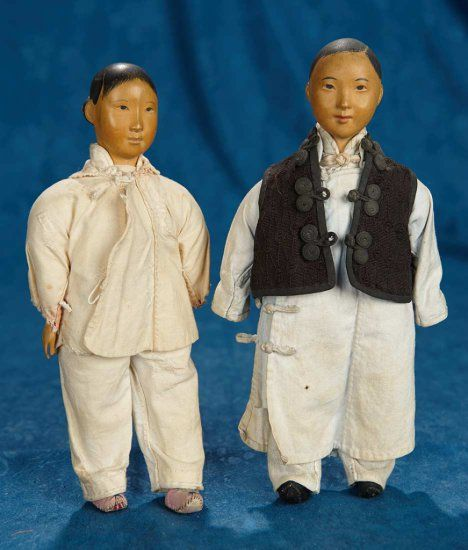 "9"" Pair, Chinese wooden Door of Hope boy and girl in rare petite size. $800/1200"