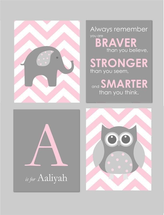 Pink and Grey Baby Girl Nursery Winnie The Pooh Quote You are Braver Elephant Nursery Owl Nursery by karimachal