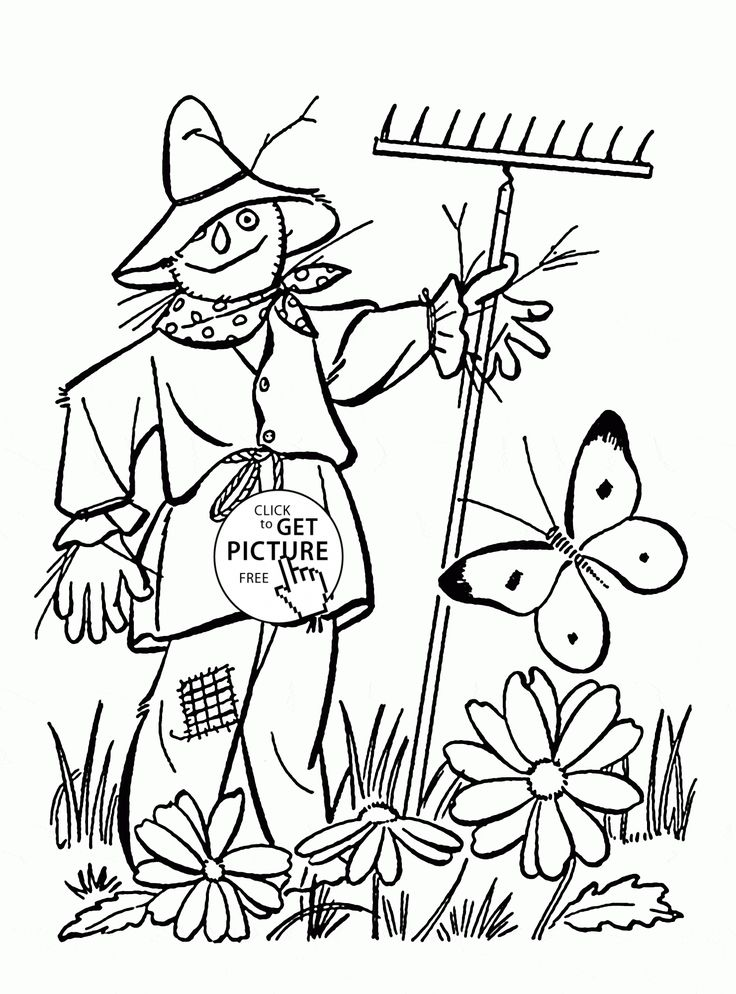 coloring pages of scarecrows - photo#19