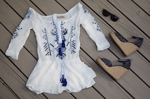 Embroidered white Tassel Romper with Steve Madden wedge heels for under $60!  #ssCollective #ShopStyleCollective #MyShopStyle #ootd #mylook #summerstyle #lookoftheday #getthelook #currentlywearing #wearitloveit #todaysdetails