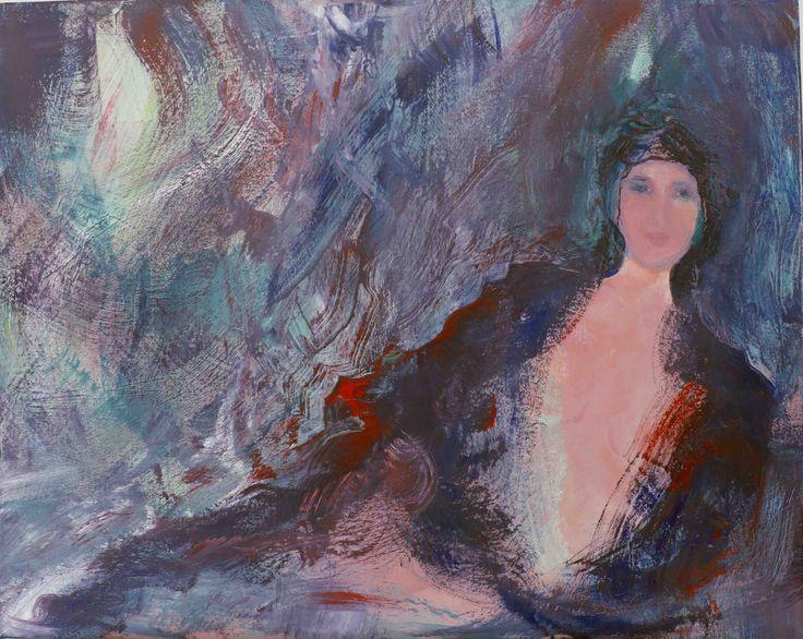"""Nathalie Voisine. For your eyes. Acrylic on Canvas. 24x36""""."""