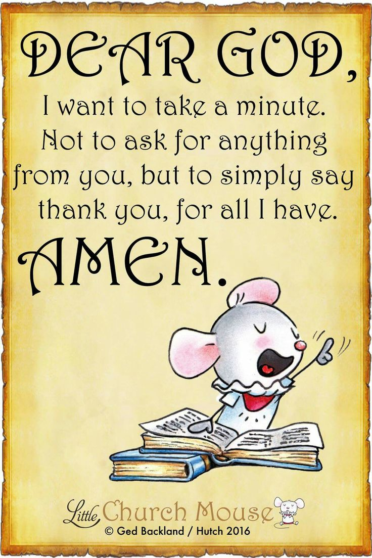 ✞♡✞ Dear God, I want to take a minute not to ask for anything from you, but to simply say Thank you, for all I have. Amen...Little Church Mouse 5 June 2016 ✞♡✞