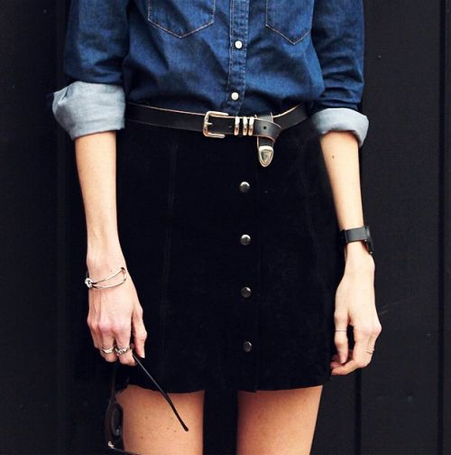 Denim shirt, black popper skirt + black belt | @styleminimalism