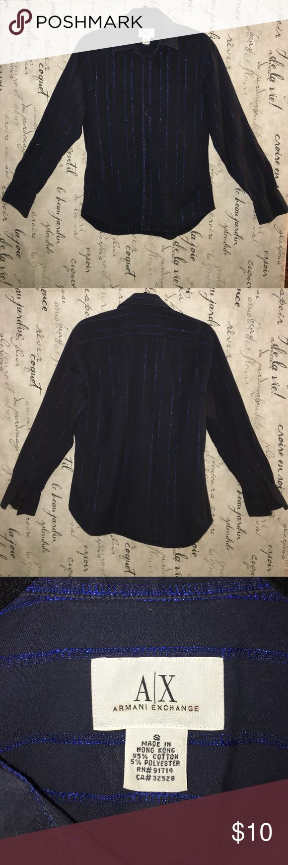 Armani black shirt with blue sparkle stripes Armani black shirt with blue sparkle stripes in great condition. No stains, rips or tears. A/X Armani Exchange Shirts Casual Button Down Shirts