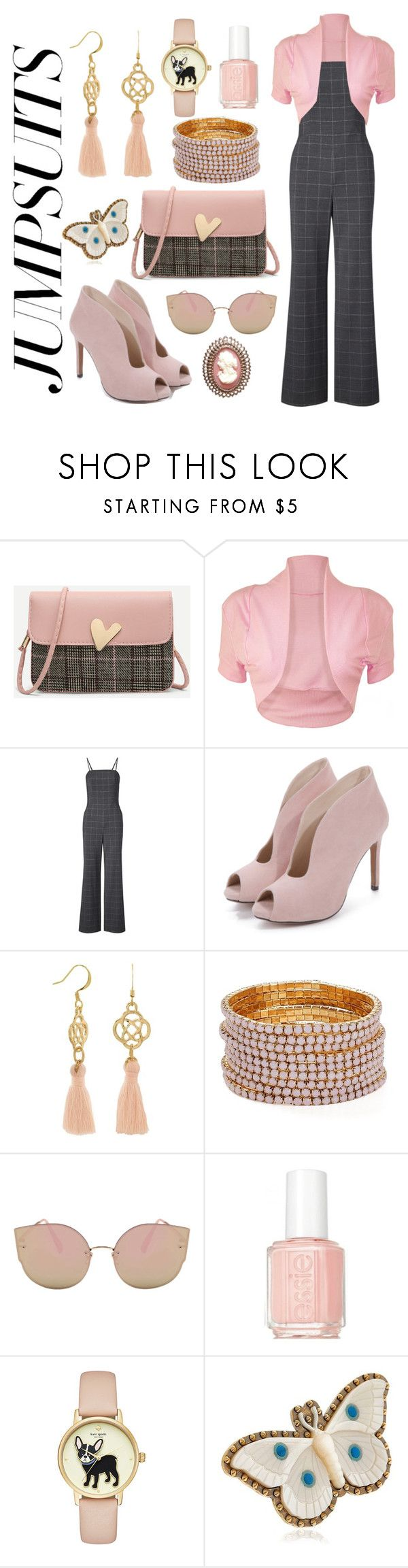 """""""Rose gold and plaid"""" by neonmoonbeam ❤ liked on Polyvore featuring WearAll, Aqua, Essie, Gucci and jumpsuits"""