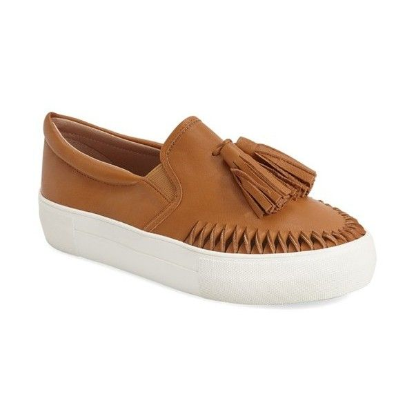 JSlides 'Aztec' Tassel Slip-On Sneaker (4,745 THB) ❤ liked on Polyvore featuring shoes, sneakers, tan leather, leather sneakers, leather slip-on shoes, leather slip on sneakers, platform slip-on sneakers and slip-on shoes