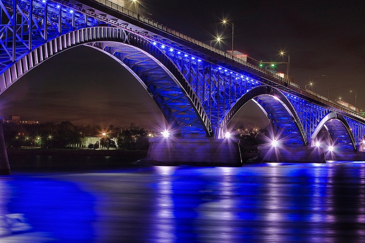 The Peace Bridge between the US and Canada.