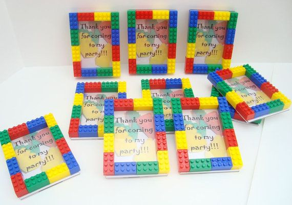 Lego Party Favor Magnetic Picture Frames - then send a pic of D & the kid w/thank you note