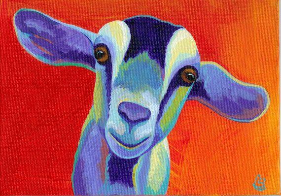 Pop Goat  Original Goat PRINT 8 x 10  By by CorinaStMartinArt, $15.00