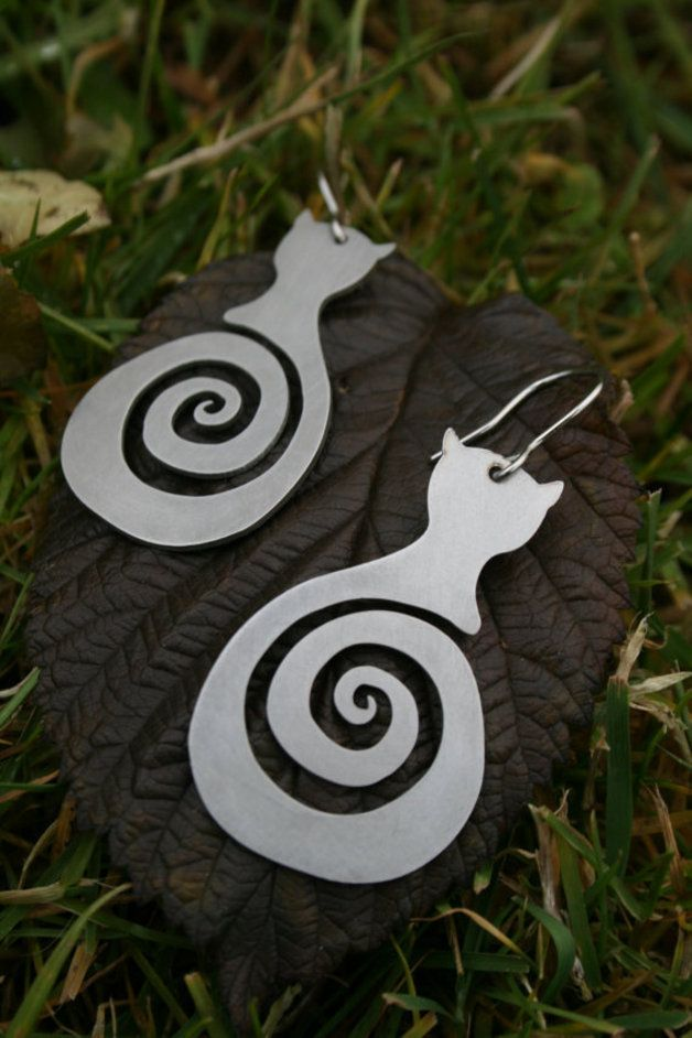 Cute Cats earrings, stainless steel, surgical wire